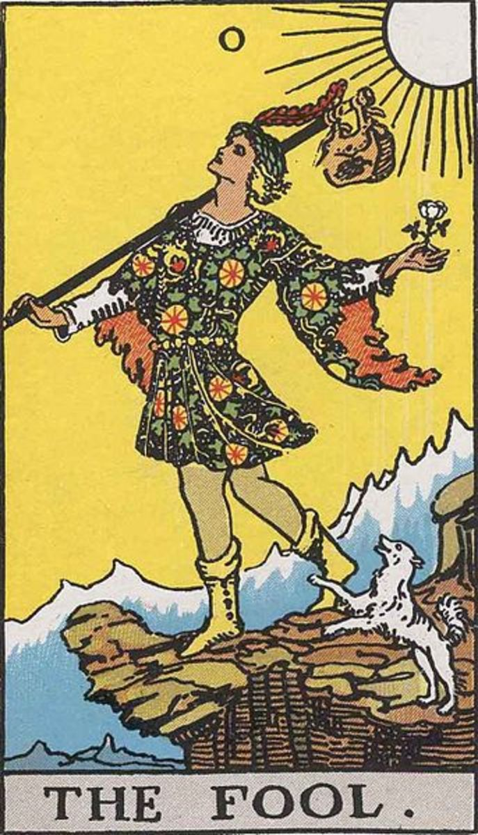 "The most common Tarot card of ""The Fool."""