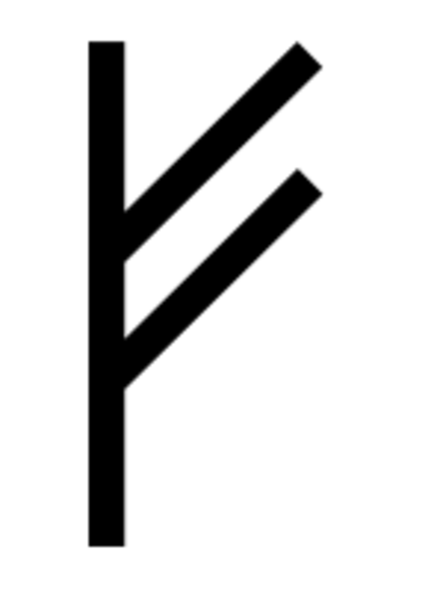 This symbol is from the younger Futhark alphabet, and literally translates to cattle or livestock—which converts into wealth and earnings