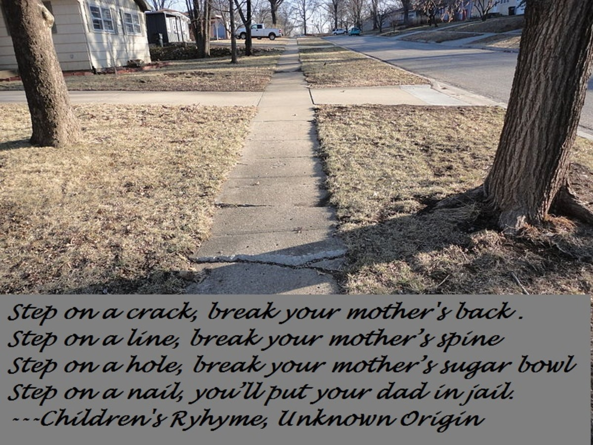 The origin of step on a crack, break your mother's back may simply just be words that rhyme.