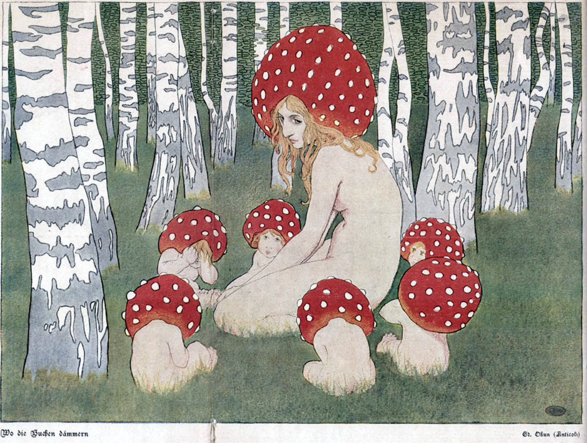 A mushroom mother and her children. Art by Polish Art Nouveau artist Edward Okuń.