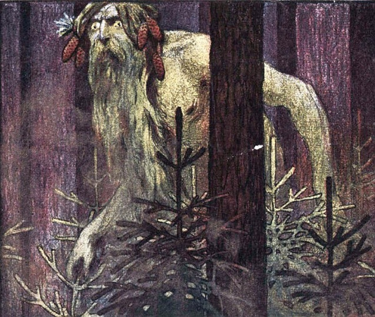 Illustration of a Leshy from a Russian magazine, 1906. Artist unnamed.