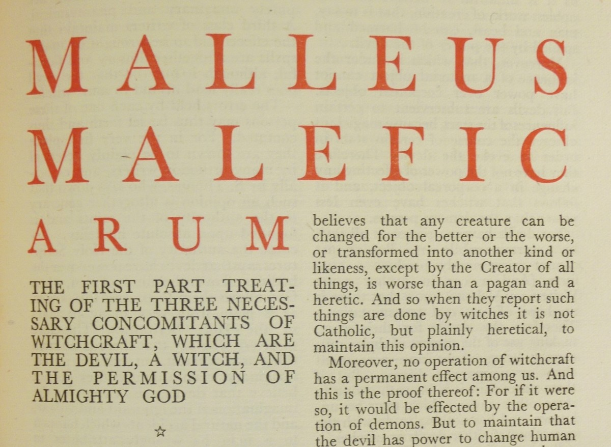 First page from an early 20th century edition of the Malleus Maleficarum.