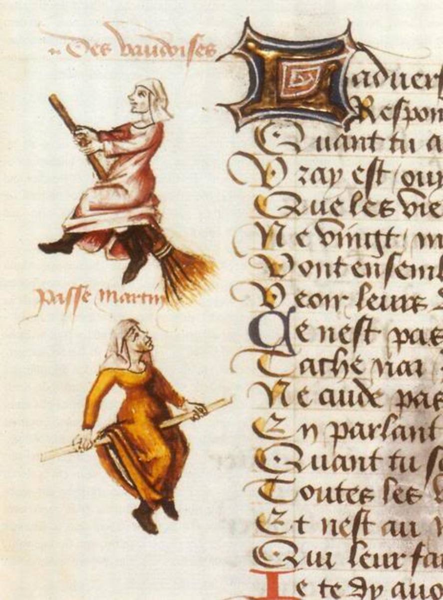 Illumination from an Medieval manuscript featuring witches on their broomsticks.
