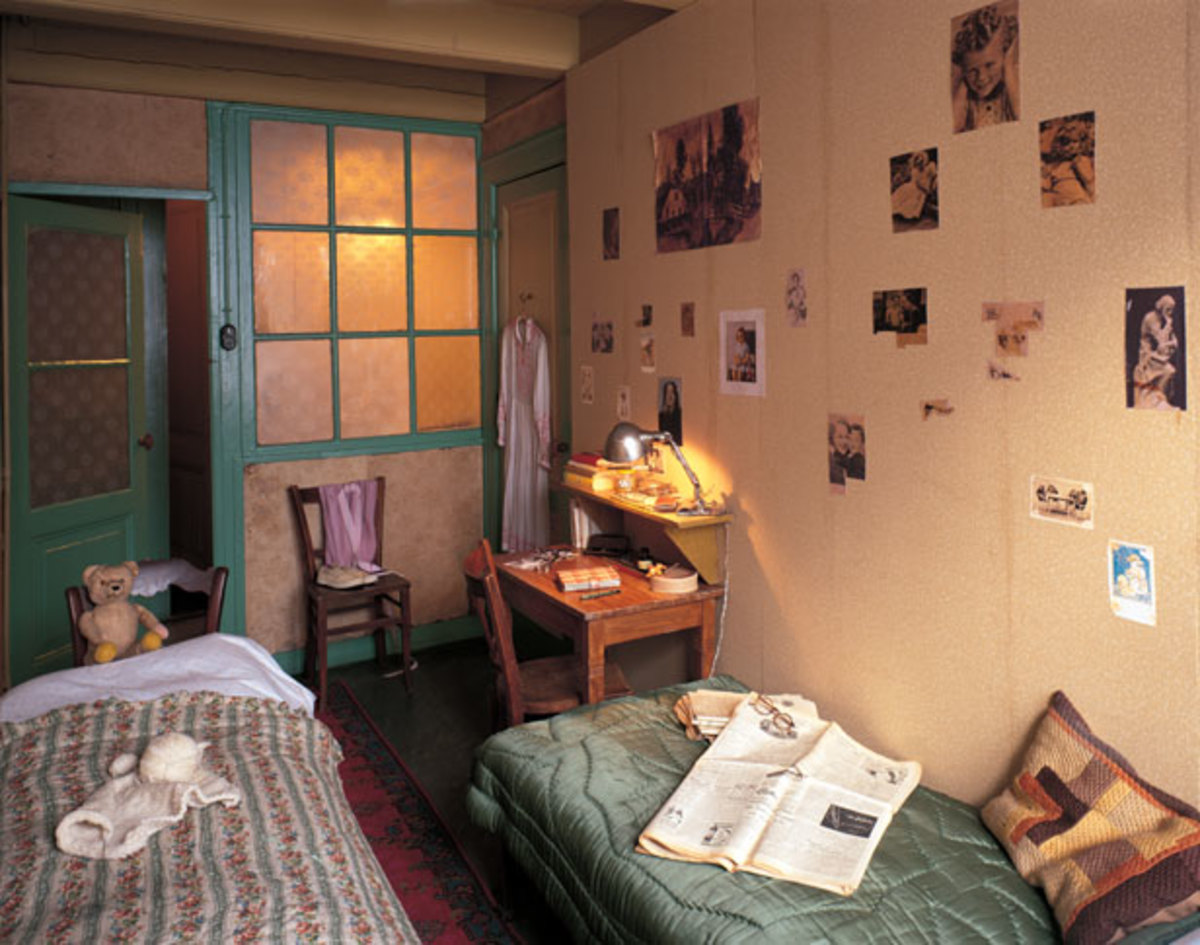 Anne Frank's Bedroom (Note the Photos on the Wall)
