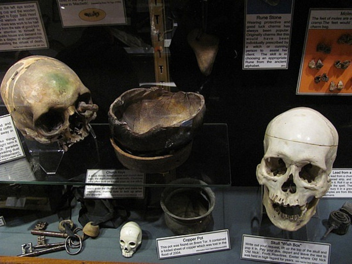 Collection of human skulls used for mediumship & magical other rituals, Boscastle Museum of Witchcraft, Cornwall
