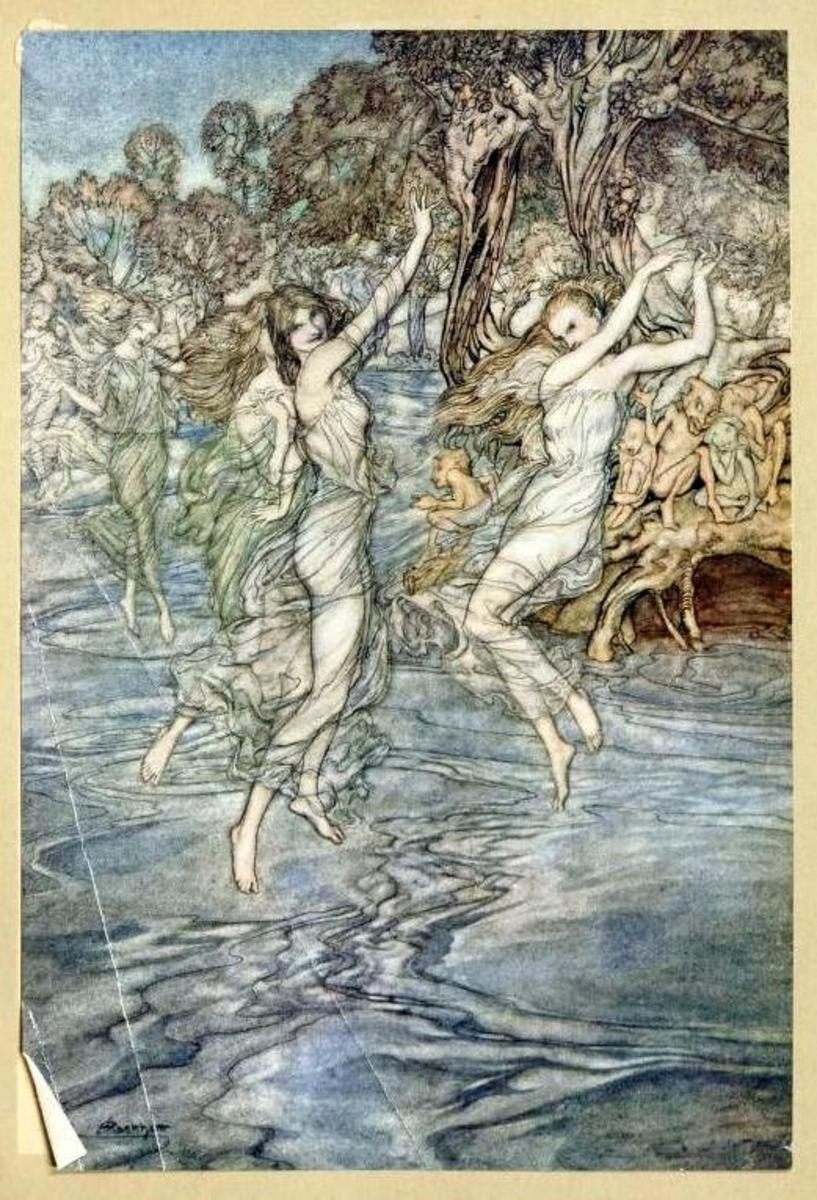 """By all the Nymphs that nightly dance Upon thy streams with wily glance"""