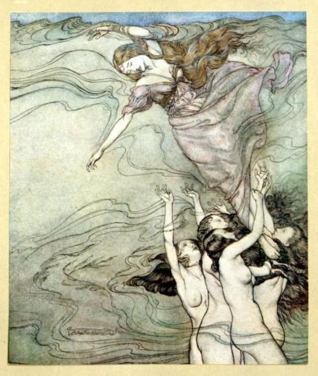 """The water-nymphs, that in the bottom played, held up their pearled wrists, and took her in"""