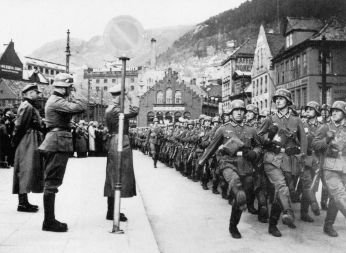 German soldiers goose-stepping.