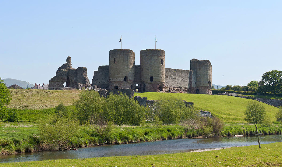 """Rhuddlan Castle, May 2012""; a lovely view of the castle as seen from the River Conwy"