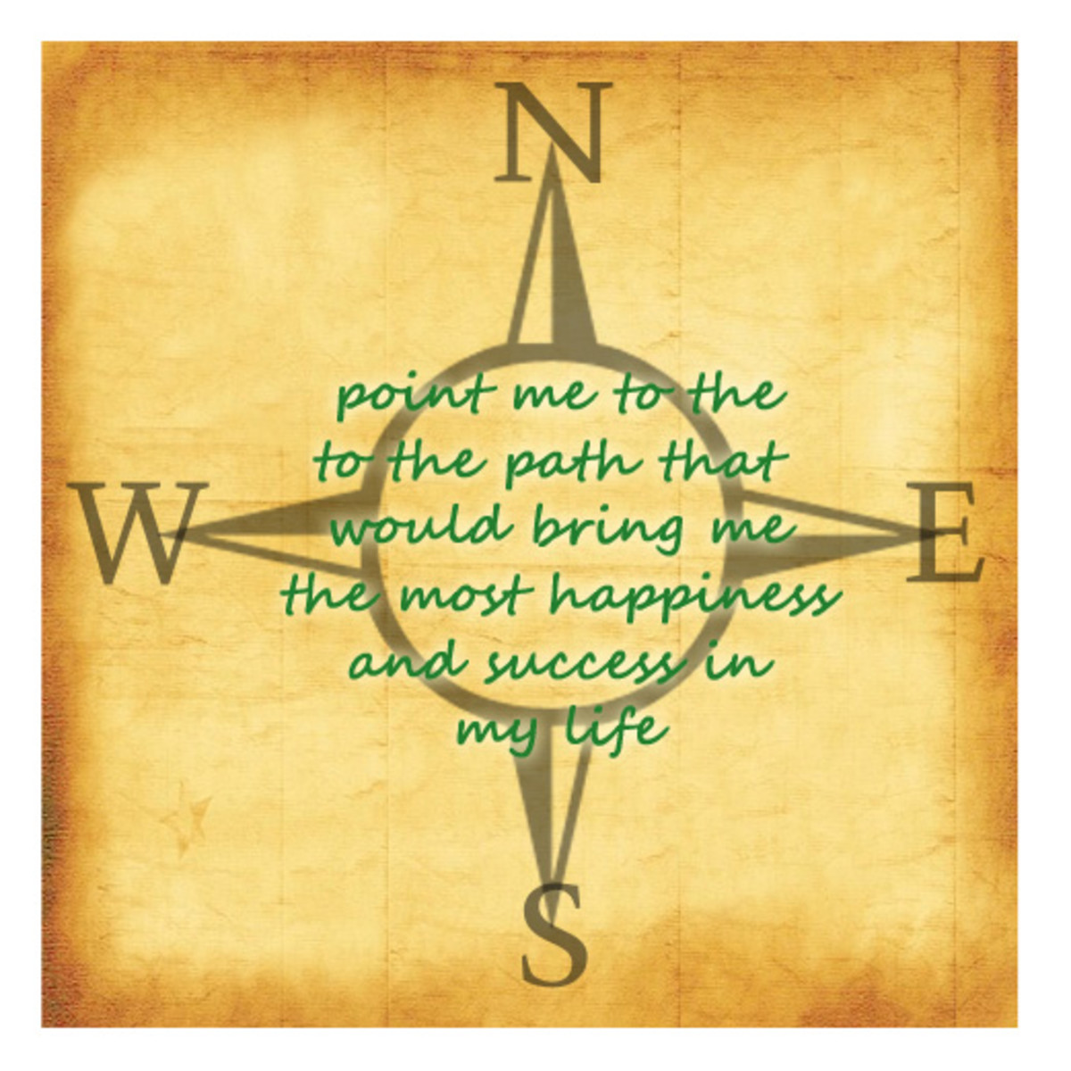 A picture of a compass seems appropriate when the spell is asking for direction. The green color ink for the request was chosen specifically because it's the color of the heart chakra, to seek the heart's desire.