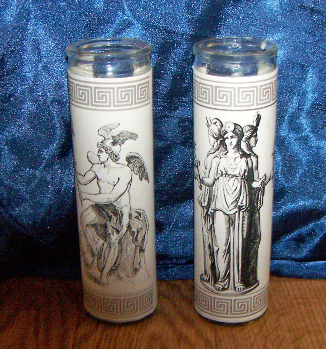 Resize an image of your deity, print it, and glue or tape it around the glass casing of a pillar candle. Affordable and effective. I use these on my ritual altar during worship.