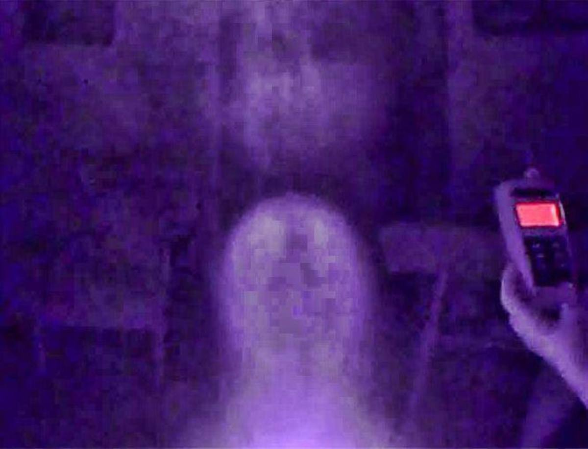 We captured this full spectrum photo still in the parlor of the home. It reveals a face along with eyes and pupils above what appears to be a smaller headed body.