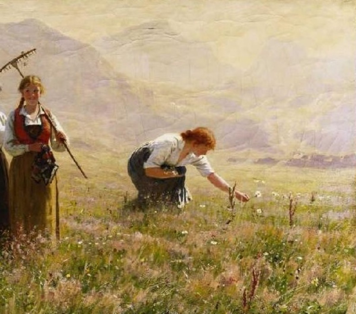 A woman gathers wildflowers in a field. Art by Hans Dahl.