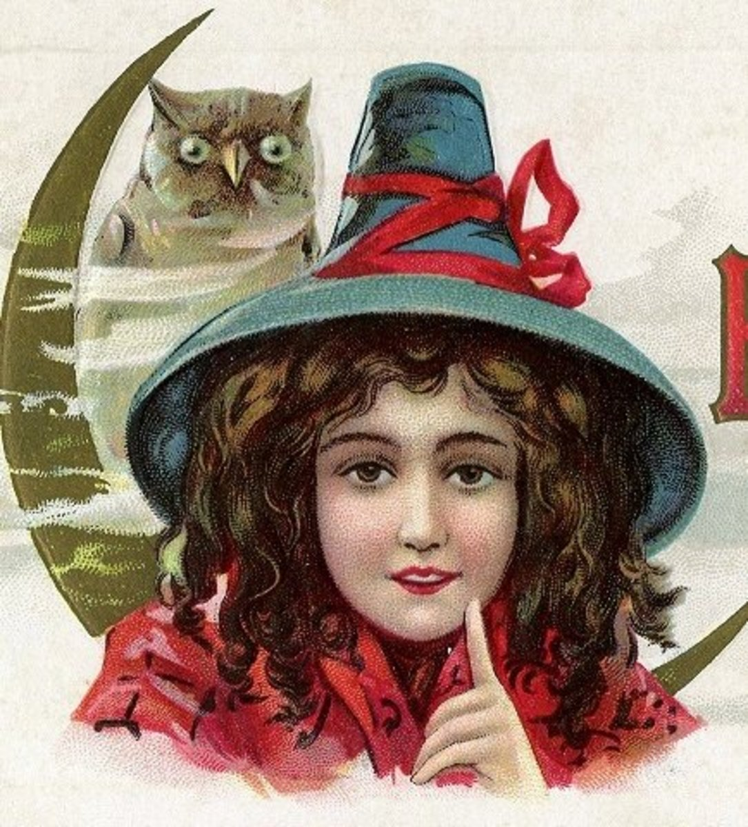 A witch with an owl familiar from a vintage Halloween postcard.