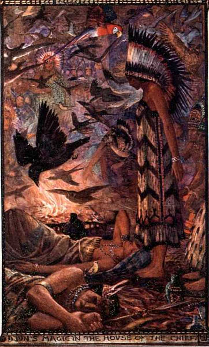 Native American shaman - Illustration by H.J. Ford for Andrew Lang's The Strange Story Book, 1913