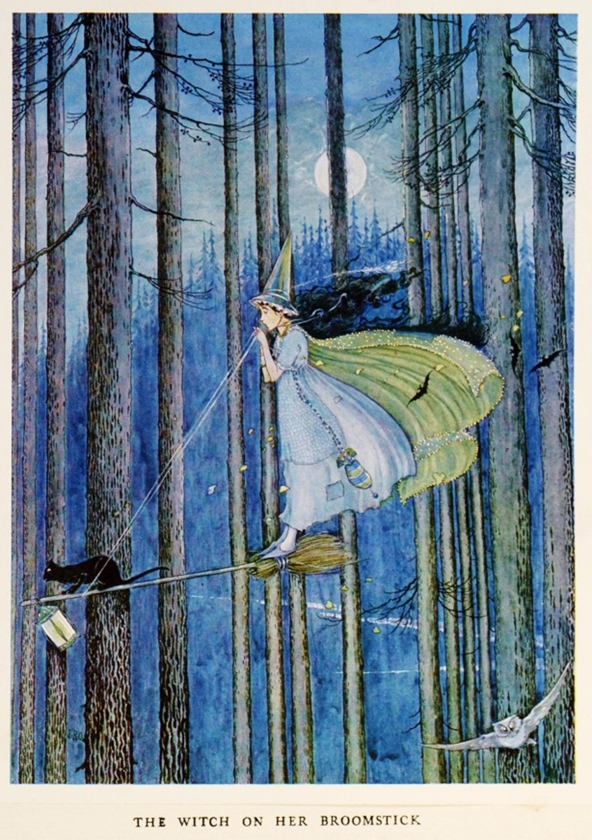 A witch rides with her familiar, by Ida Rentoul Outhwaite, 1921
