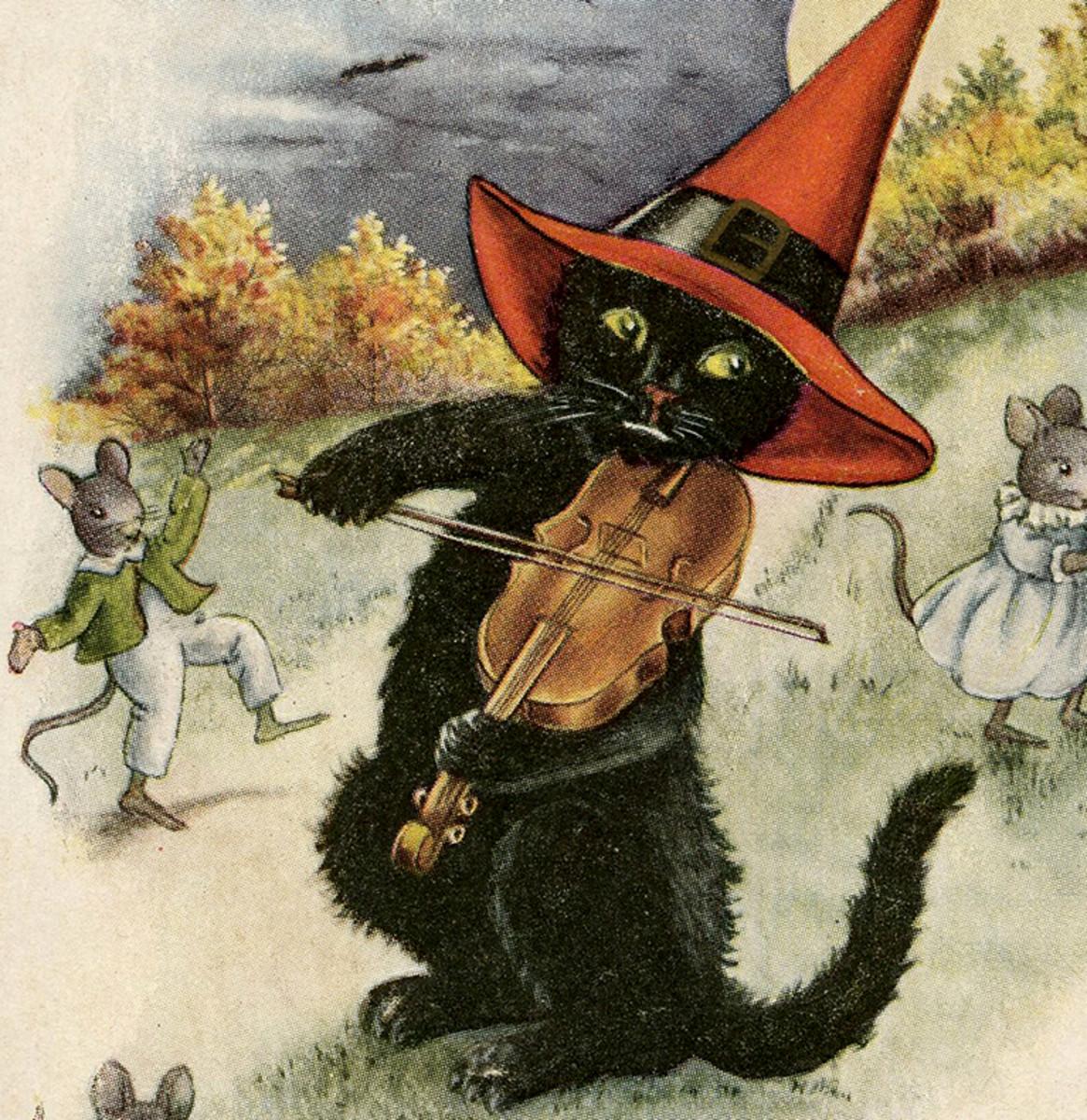 Black cat in a witch's hat, vintage illustration.