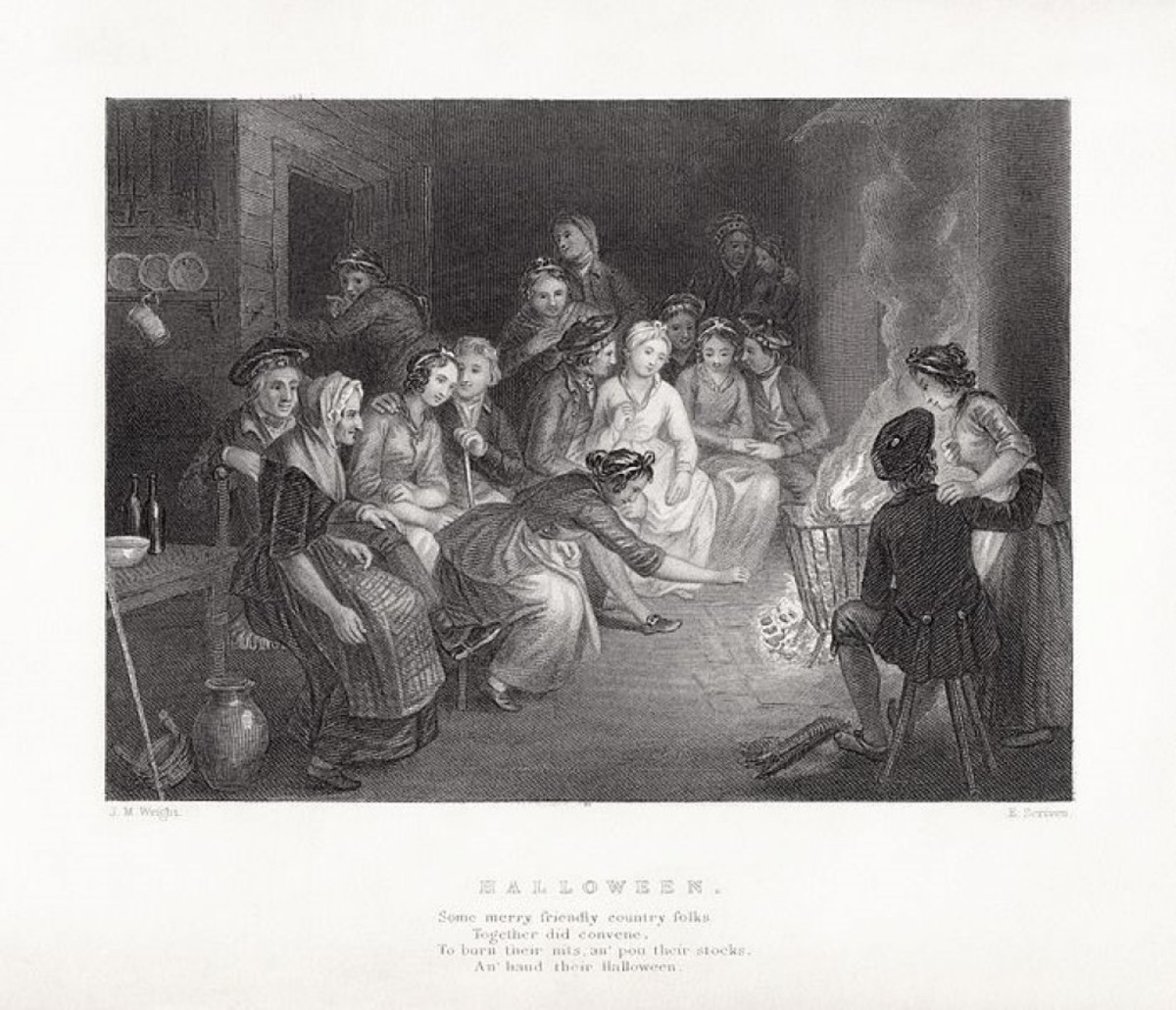 Illustration of Robert Burns' Halloween by J.M. Wright and Edward Scriven
