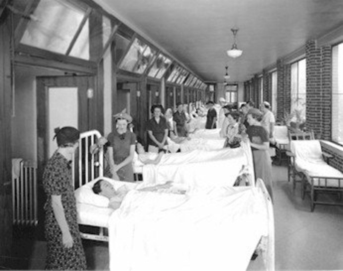 The open mouths of the building where patients were taken for fresh air as treatment for tuberculosis.
