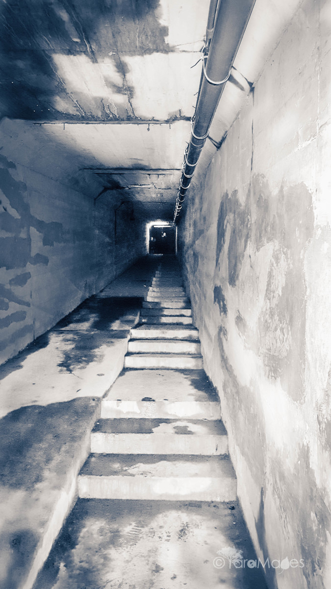 Looking up from the midway of the Body Chute at Waverly Hills Sanatorium