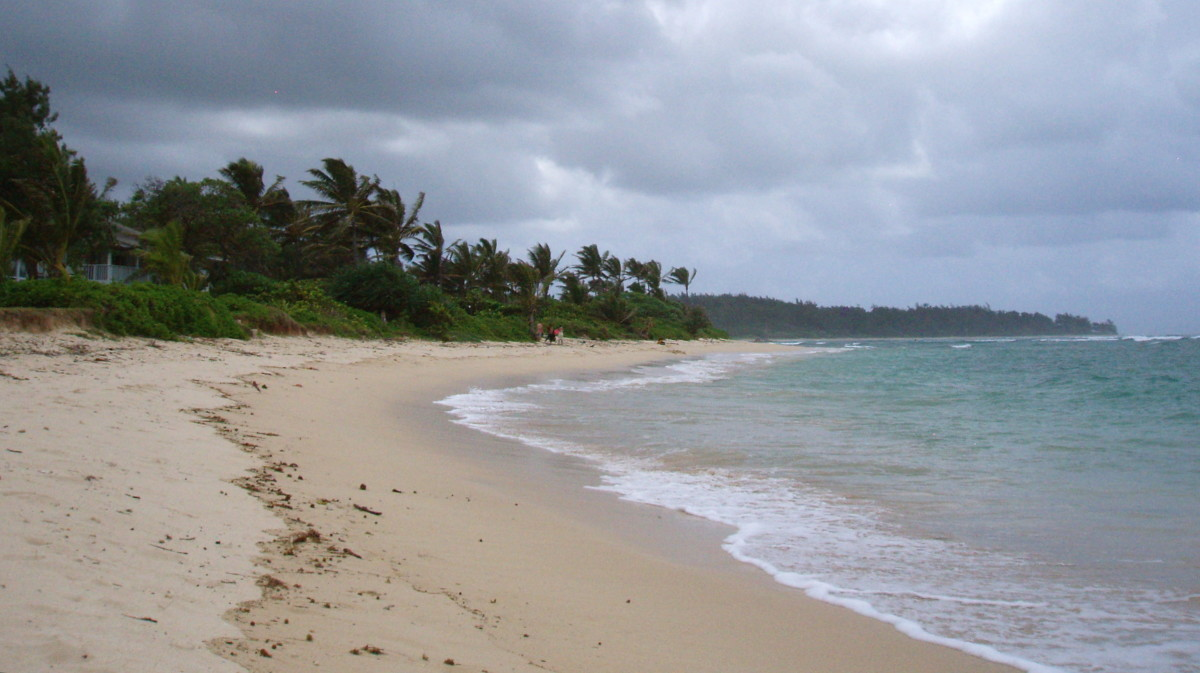 Laie Beach, Oahu, Hawaii. This beach is seldom visited by tourists and is not plagued much by ocean trash washing up. What does wash up the locals clean up.