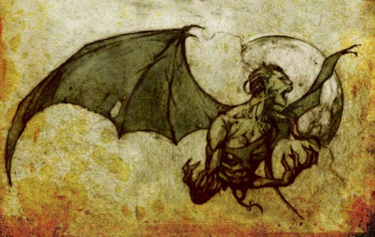 A drawing of an aswang in its nighttime transformation.