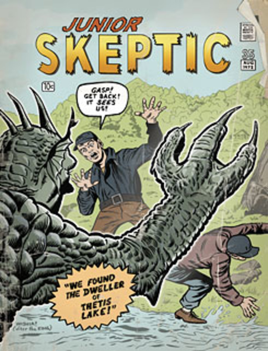 """The Thetis Lake Monster on the cover of """"Junior Skeptic"""" magazine."""