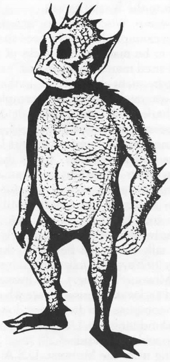 An artist's sketch of the Thetis Lake Monster.