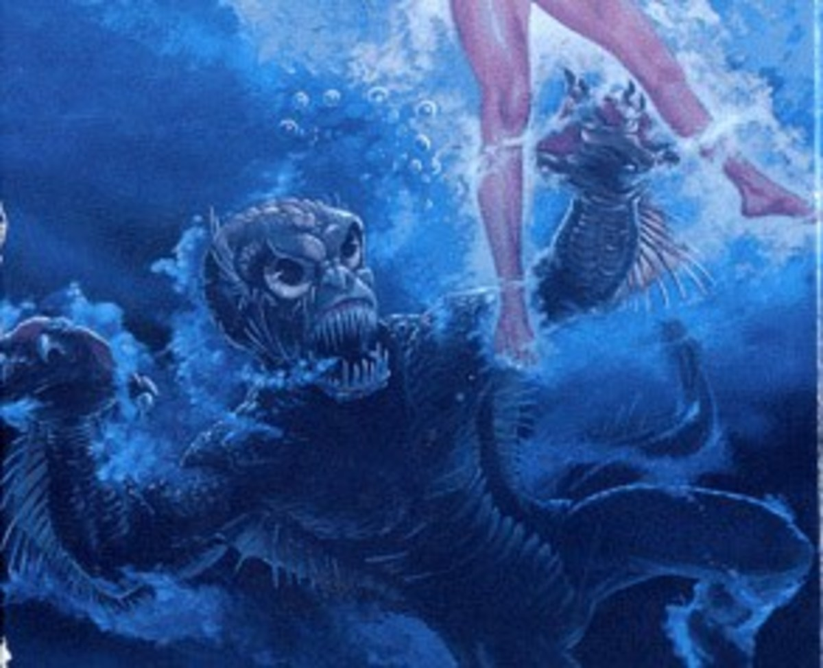 An artist's interpretation of the Thetis Lake Monster, which strongly resembles Gill-man.