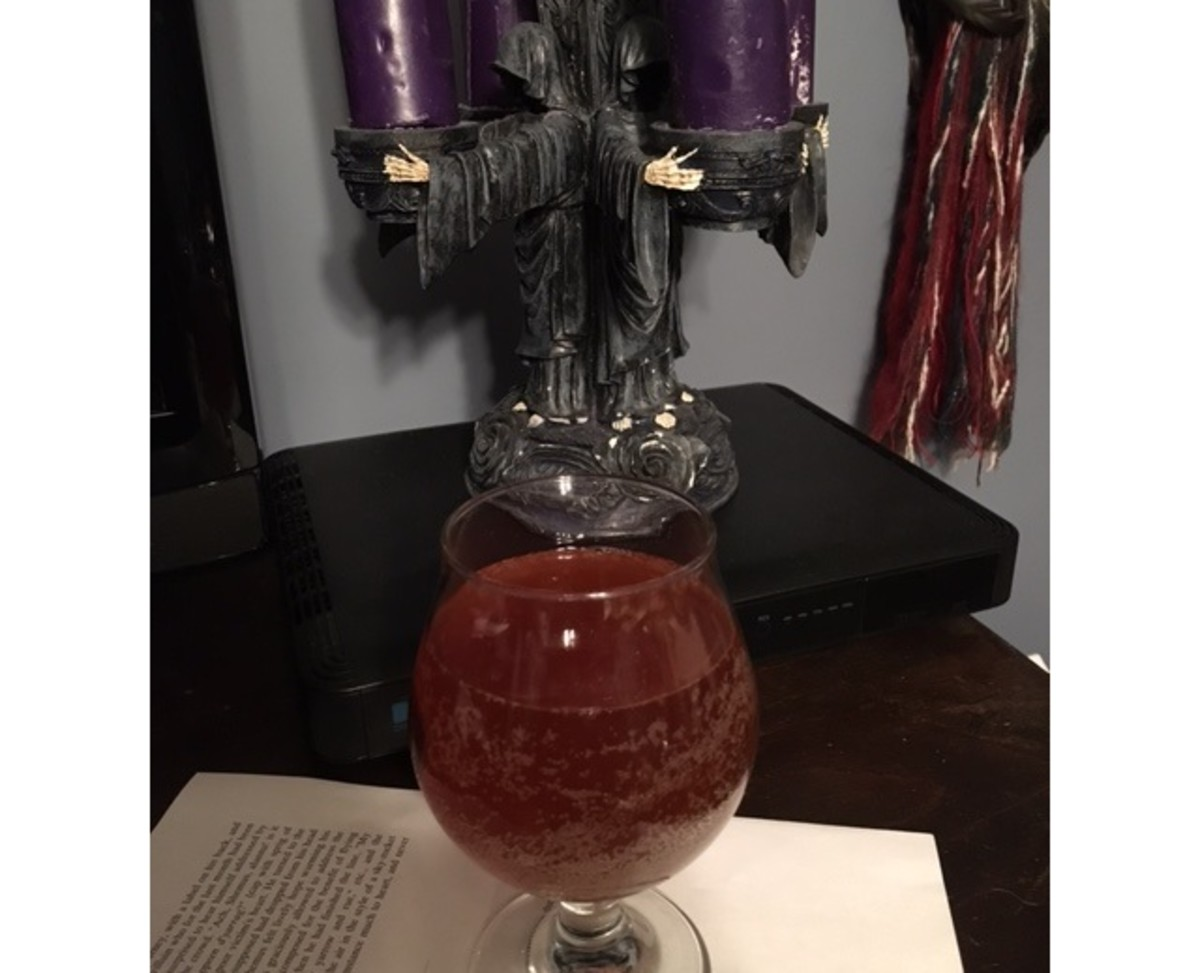 The author's home brewed dark mead, which helped in the writing of this hub.