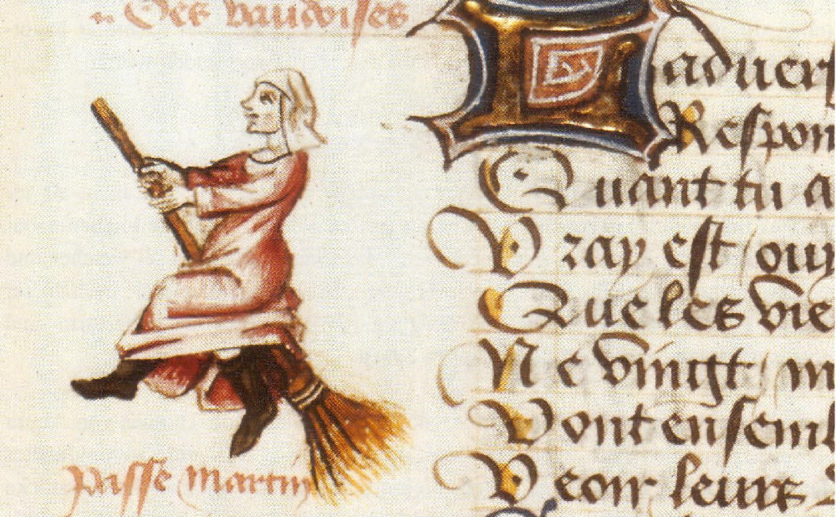 """Martin Le Franc """"Le Champion des Dames"""" (1451) -- first known image of a witch flying on a broom (partial image)."""