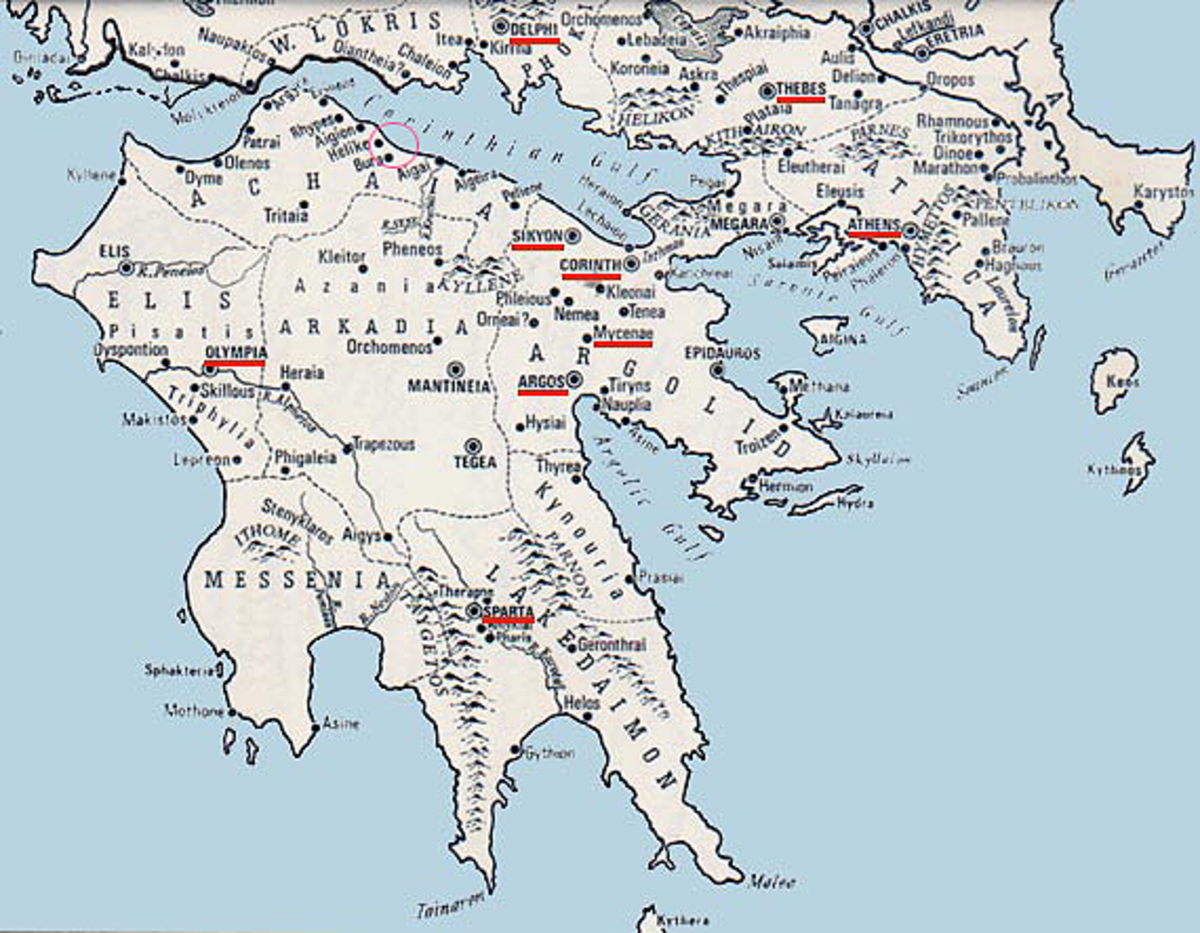 Map showing location of earthquake (small red circle) that wiped out Helice and Bura in Greece.