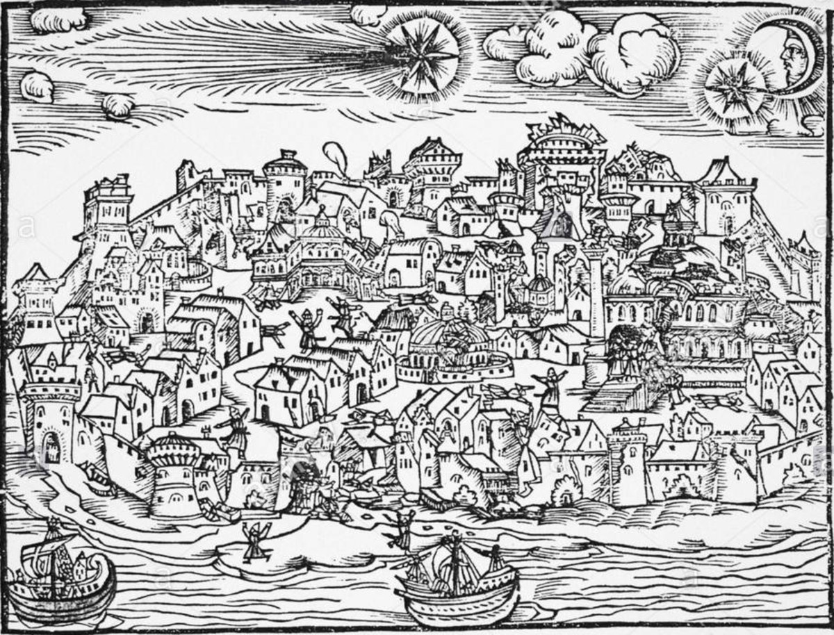 German woodcut depicting an earthquake that occurred 2 hours before dawn on 10 March 1556 AD (Julian calendar) in Istanbul Turkey that was heralded by a comet. The earthquake caused some deaths and is believed to have been about 6.75M (+-0.5M).