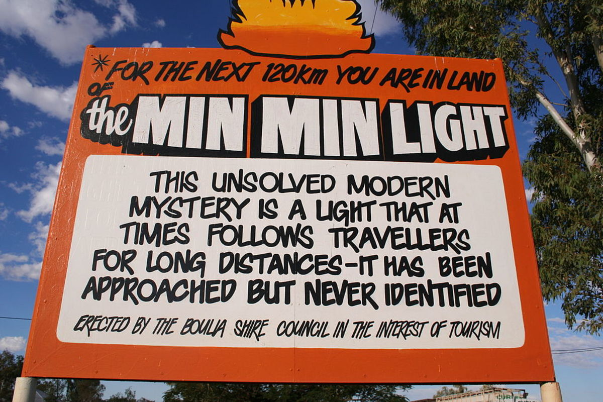 This Min Min light warning sign appears in Boulia, Queensland, Australia