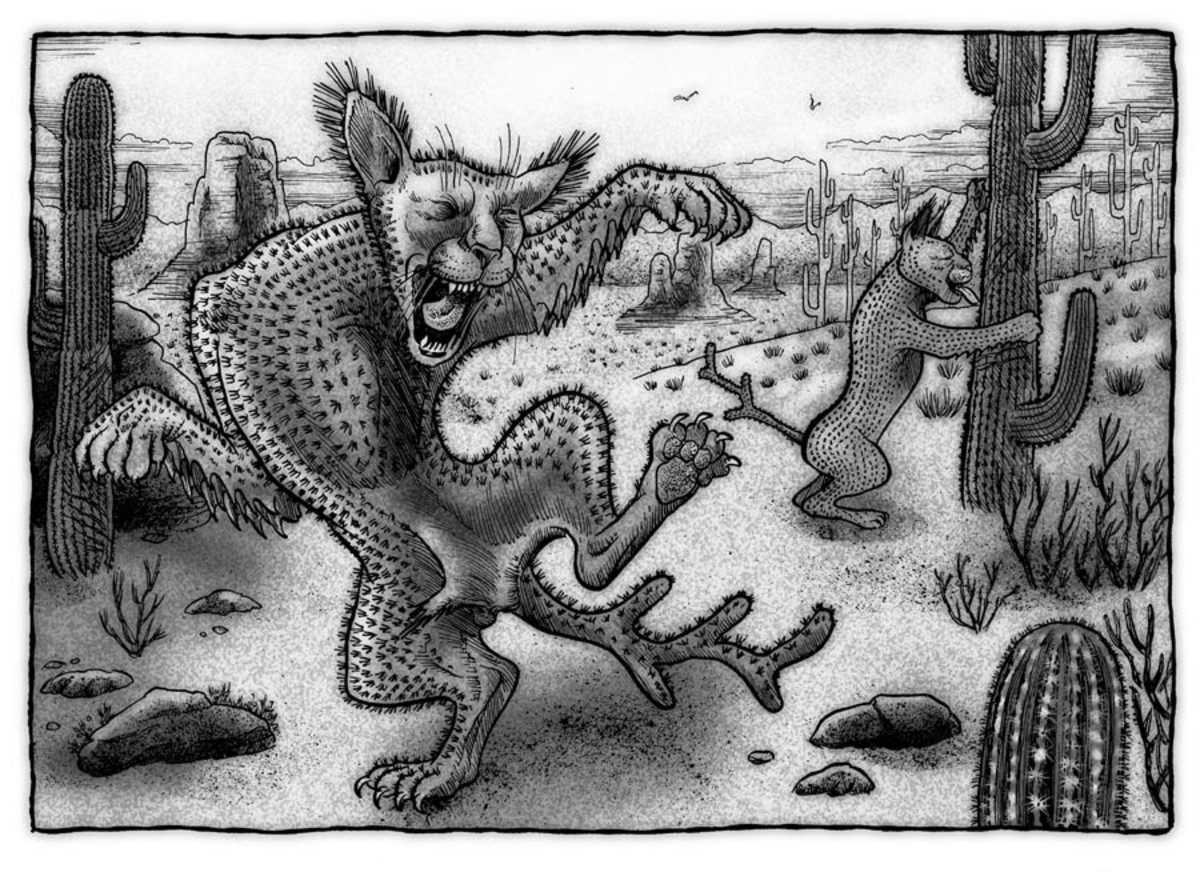 A Cactus Cat drunkenly stumbles around in this illustration.