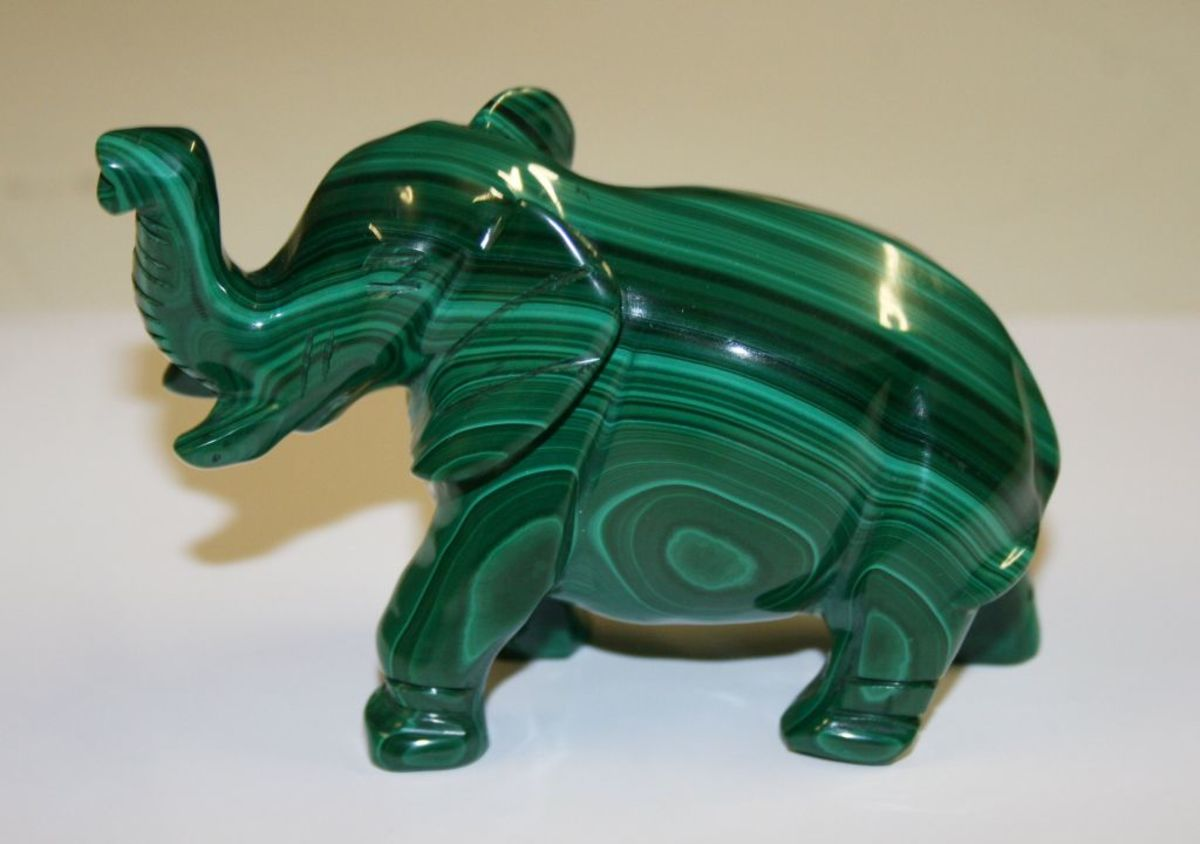 Malachite is a green banded stone that contains high levels of copper.