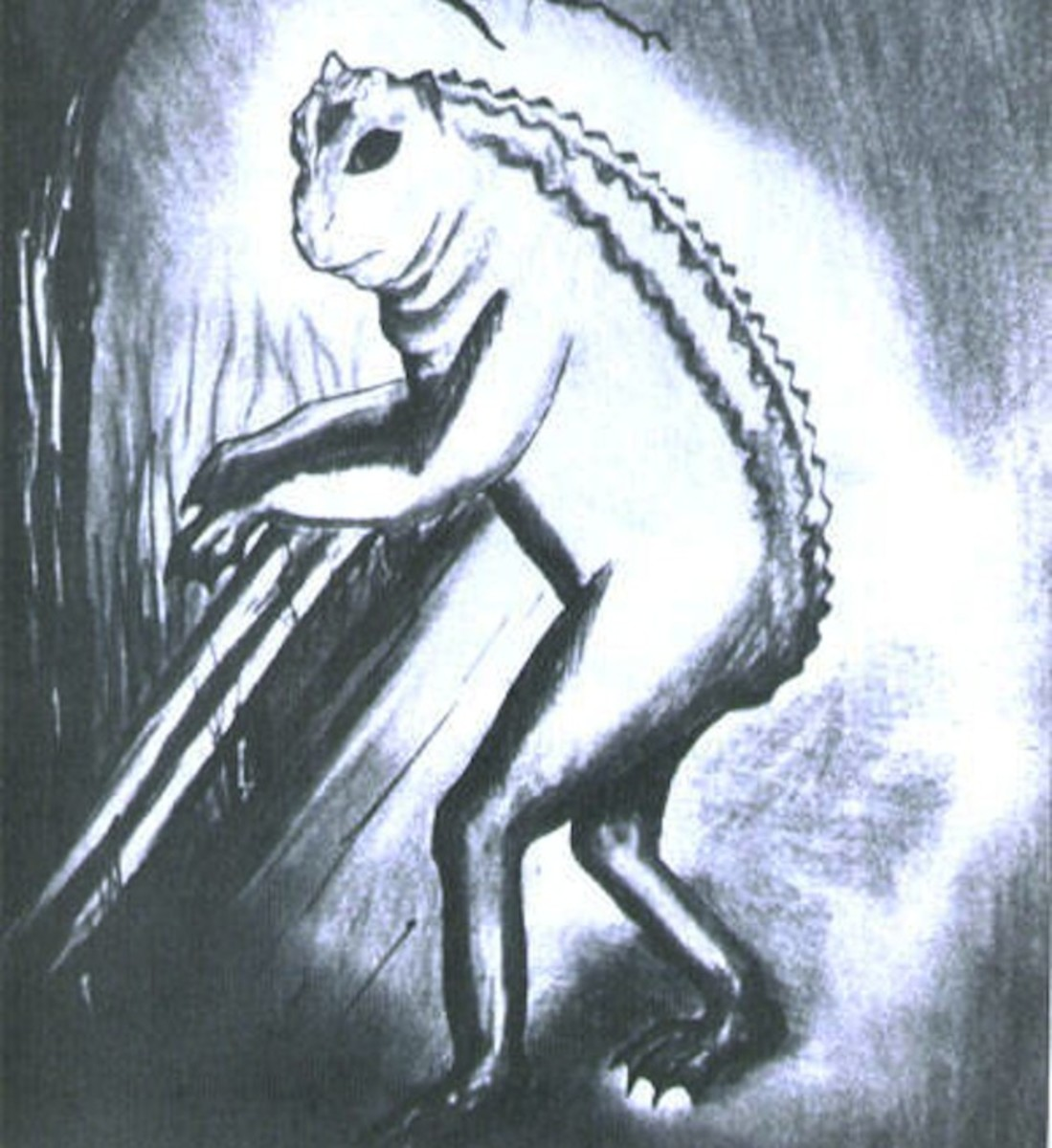 An artist's depiction of a Loveland Frog climbing over a guardrail.