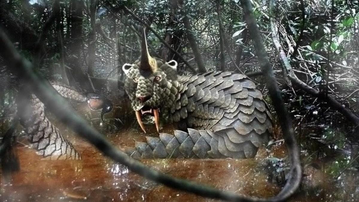 An illustration of a Dingonek.