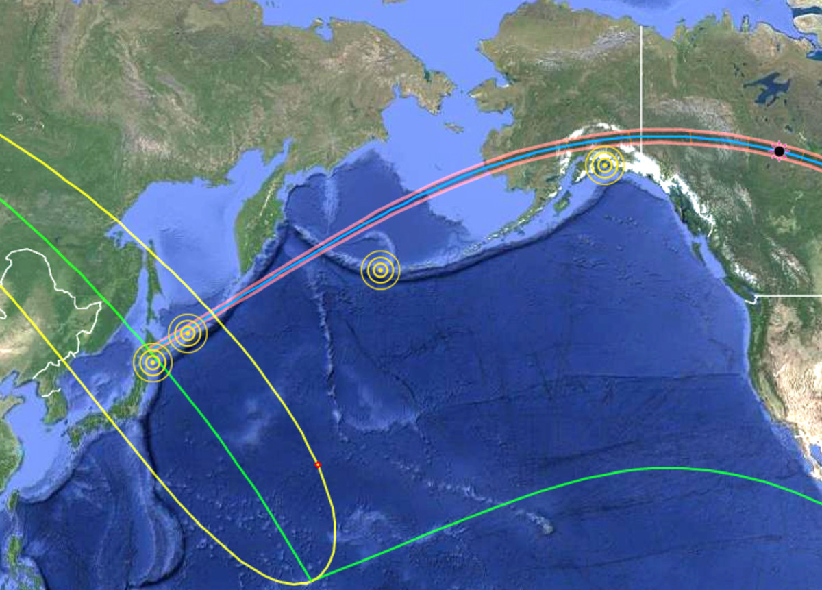 Four earthquakes within five years of and 400 miles (644 km) from the center of the shadow path of the 20 July 1963 eclipse.  Three of them were of 8.5 or larger magnitude and within 1.5 years of the eclipse.