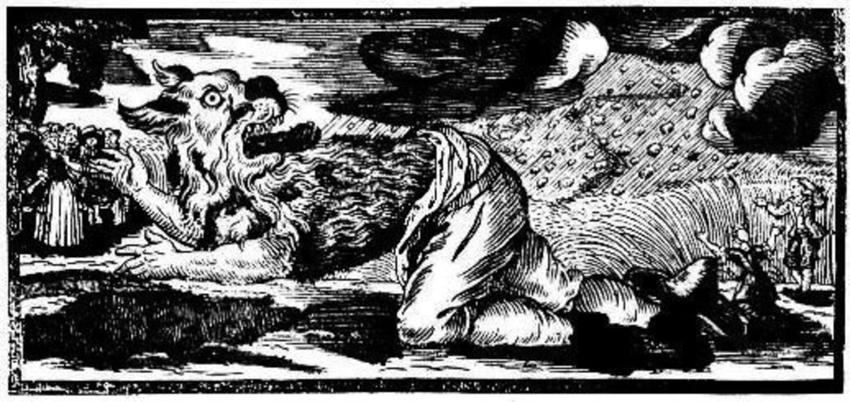 German woodcut from 1722 of a werewolf.