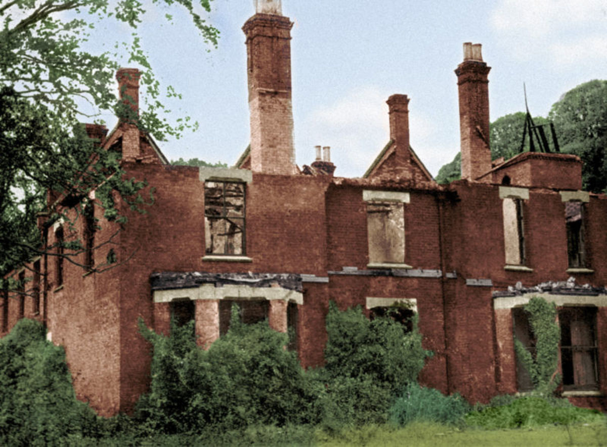 The ruins of Borley Rectory after it was destroyed by fire.