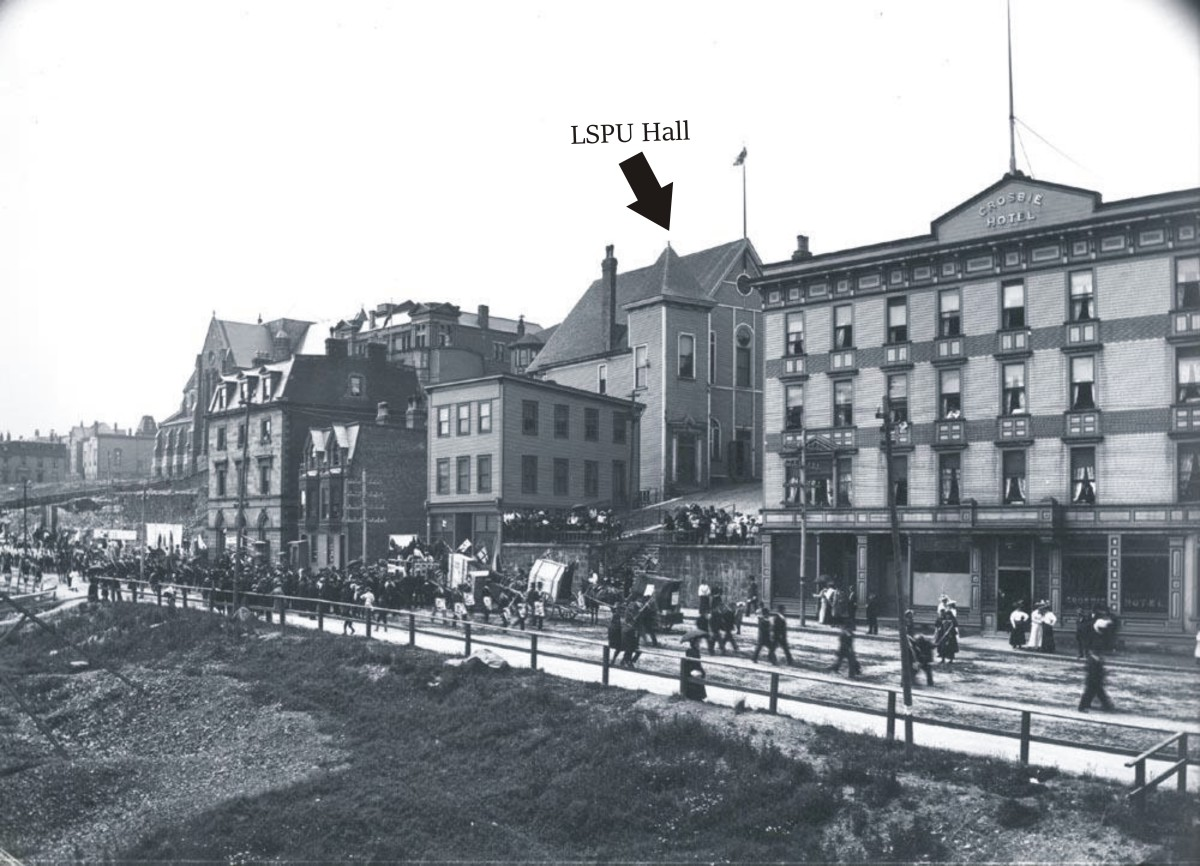 The LSPU Hall, known at the time as Temperance Hall, as seen from Duckworth Street, circa 1905.