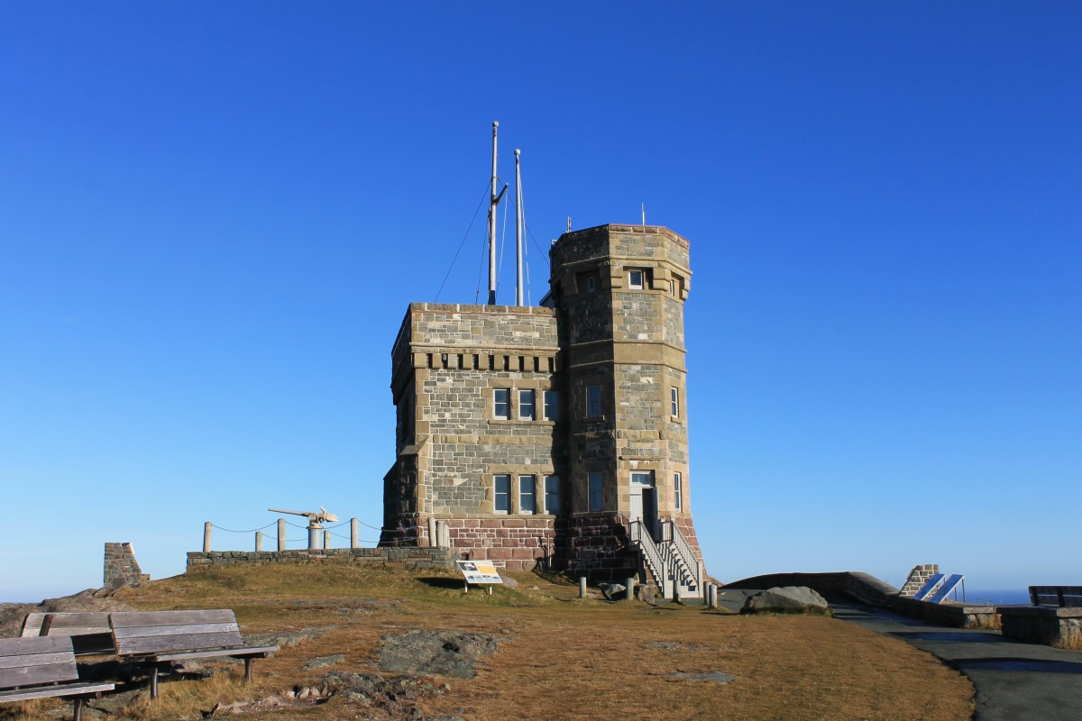Samuel Garret's best known work, Cabot Tower, at the top of Signal Hill in St. John's. The same stone that was used here was used to construct the Four Sisters.