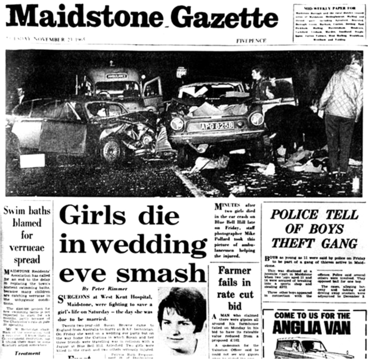 A newspaper report describing the crash