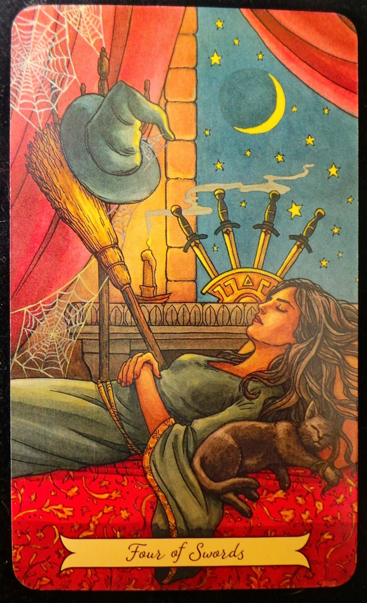 The Four of Swords from the Everyday Witch Tarot