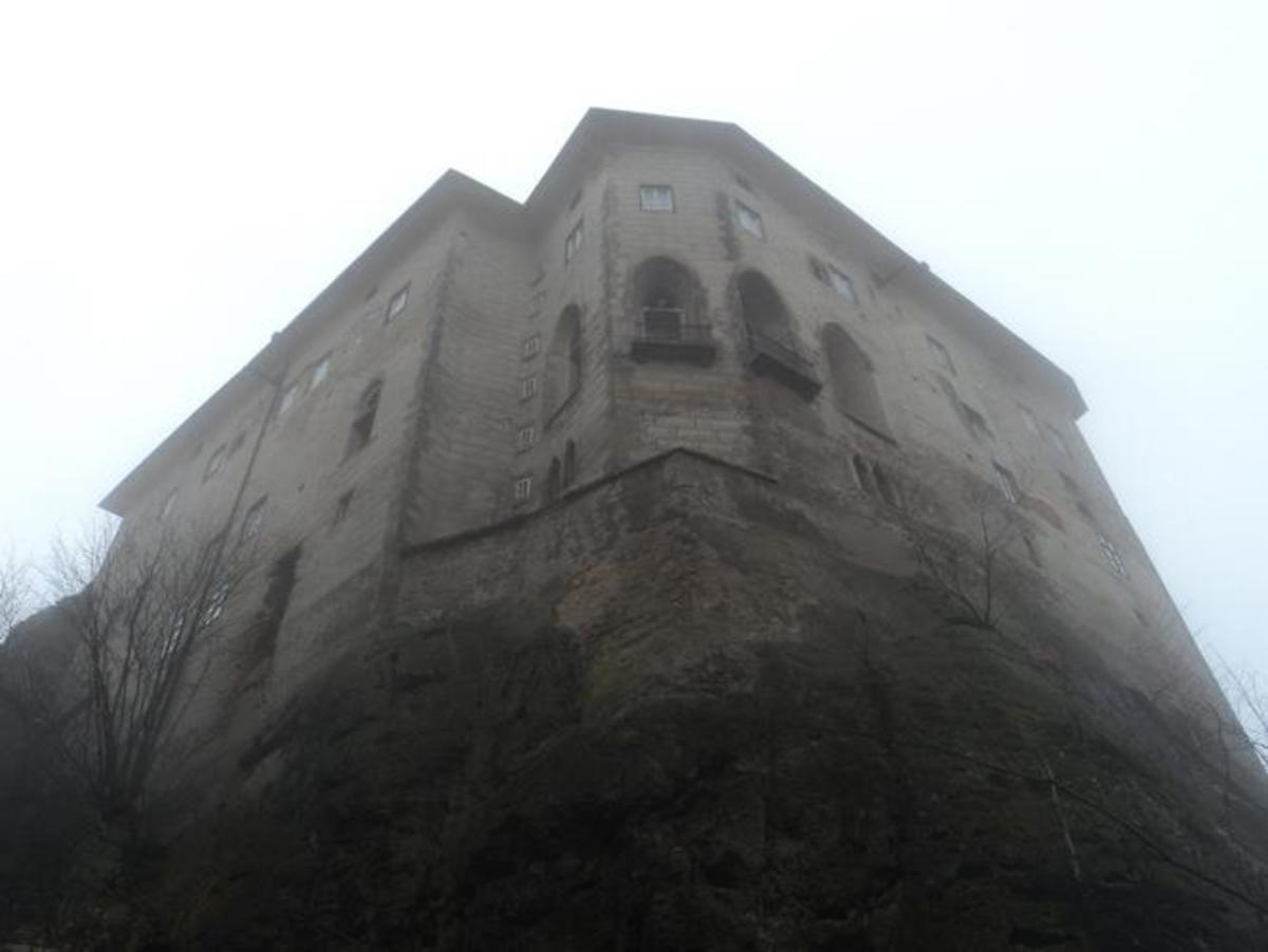 Spooky shot of Houska Castle from the bottom of the cliff.