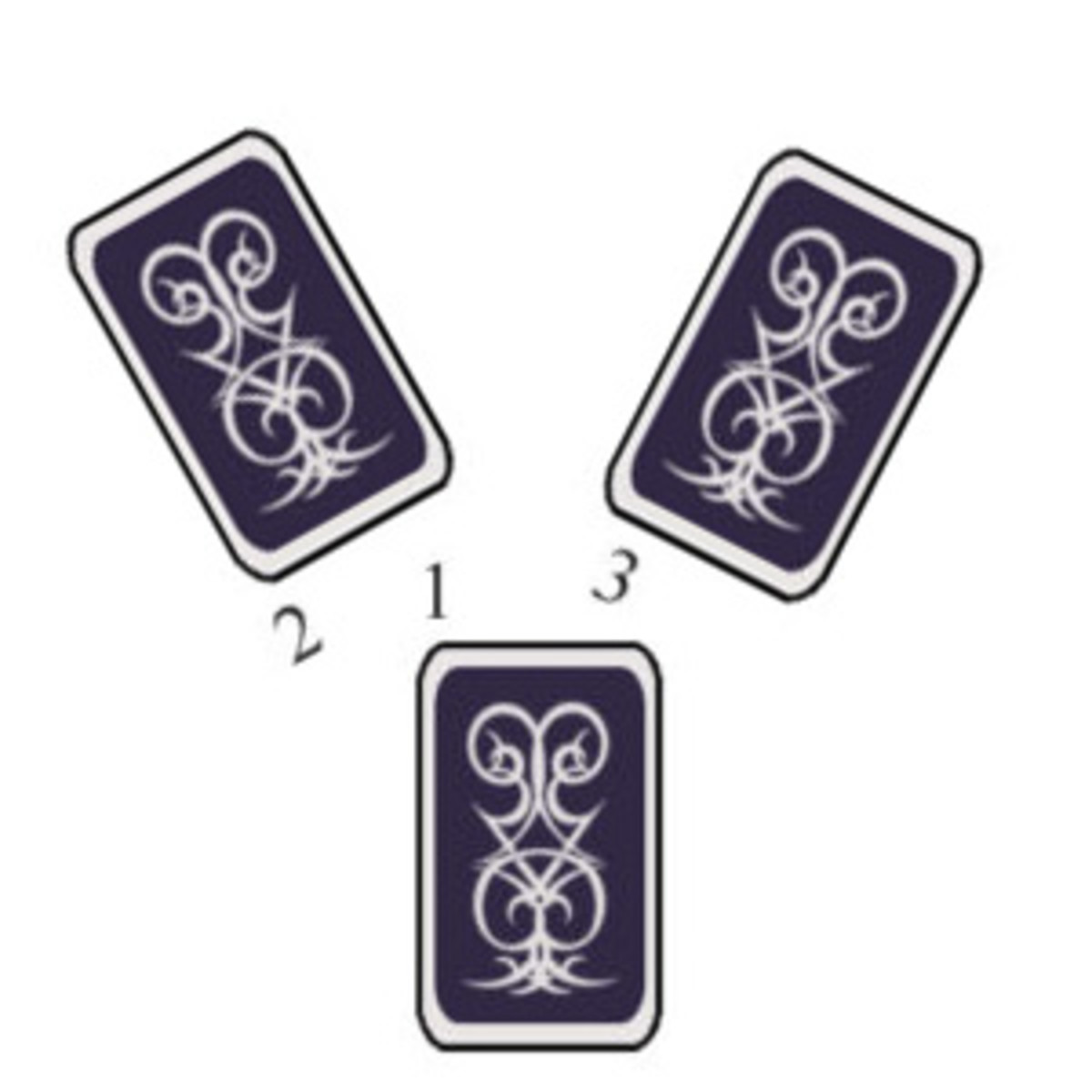 Two Roads Spread: Card one on the bottom starts it, then look at the two possible paths.