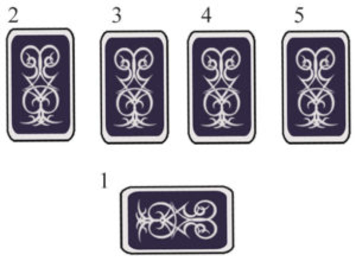 Artist's Tool Box Tarot Spread: Start at the bottom, then go to the top row, left to right.