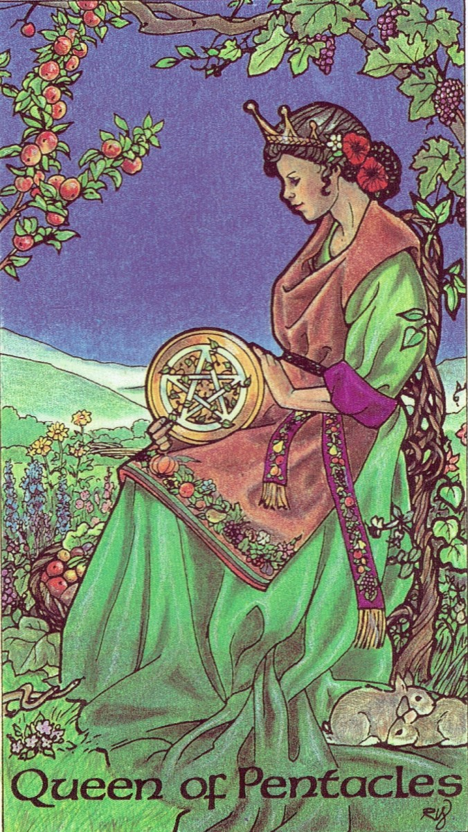 Queen of Pentacles from the Robin Wood Tarot