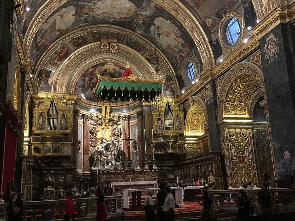 The interior of the magnificent Saint John's Co-Cathedral in Valletta.